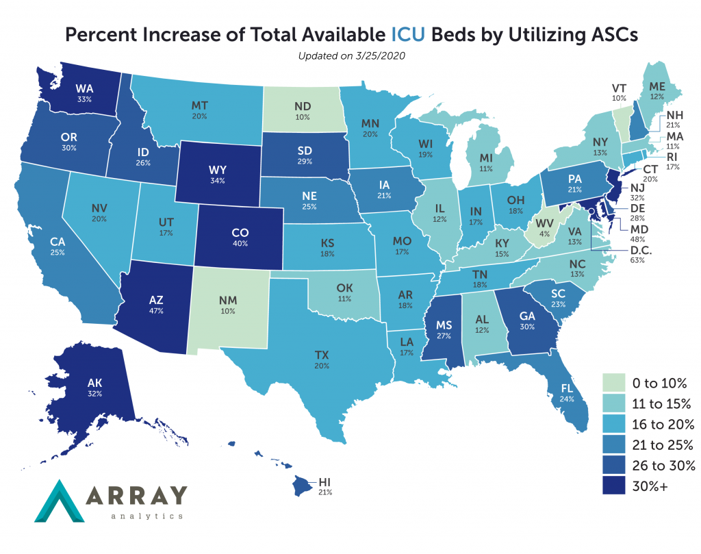 Heatmap showing Percent Increase of ICU Beds by Using ASCs